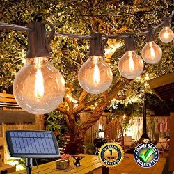 Upook 25FT G40 Solar String Lights with 25 Clear LED Bulbs, Outdoor Patio String Lights, Warm Wh ...
