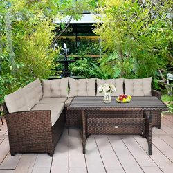 Tangkula Patio Furniture Set, 3 Pieces Outdoor Conversation Set with 6 Cushioned Seat & Coff ...
