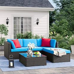 Tuoze 5 Pieces Patio Furniture Sectional Set Outdoor All-Weather PE Rattan Wicker Lawn Conversat ...
