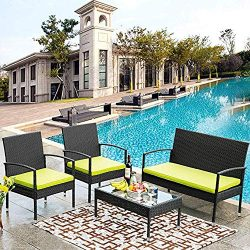 Merax 4 PCS Rattan Patio Conversation Set Garden Lawn Outdoor Black Wicker Sofa Set with Green C ...