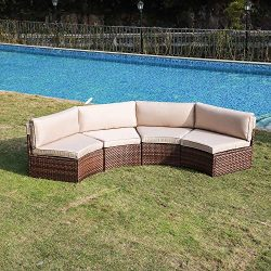 SUNSITT 4-Piece Outdoor Half-Moon Sectional Wicker Sofa Set Patio Furniture, Brown PE Rattan and ...
