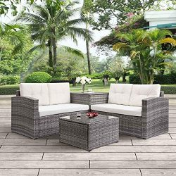 Leisure Zone 4PCS Big Outdoor PE Rattan Wicker Patio Sofa Sectional Furniture Set Conversation S ...