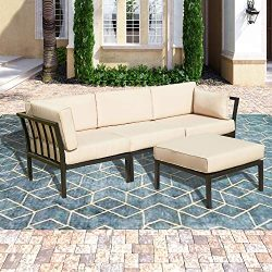 PatioFestival Conversation Set Outdoor Metal Furniture 4 Pieces All-Weather Sectional Sofa Set w ...