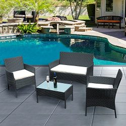 Across-US 4 Pieces Rattan Patio Set Wicker Garden Furniture Table and Chairs Conversation Outdoo ...