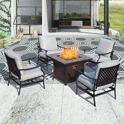 Patio Festival ® Outdoor Patio Conversation Set CSA Certification 50,000 BTU Fire Pit Table Sets ...