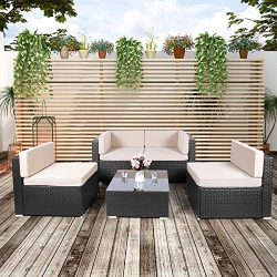 U-MAX Patio PE Rattan Wicker Sofa Set 5 Pieces Black Outdoor Sectional Furniture Chair Set with  ...