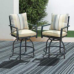 LOKATSE HOME Patio Stools Outdoor Swivel Bar Height Chairs Set of 2, 2, White Cushion