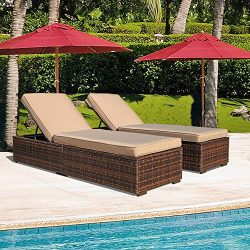 Patiorama Outdoor Pool Chaise Chairs, Adjustable Rattan Chaise Lounge Chairs with Cushion, Espre ...