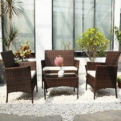 DIMAR garden 4 Piece Outdoor Rattan Patio Furniture Sectional Chair Wicker Patio Furniture Conve ...