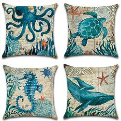 Unibedding Beach Throw Pillow Covers Decorative Nautical Theme Cushion Covers Outdoor for Couch  ...