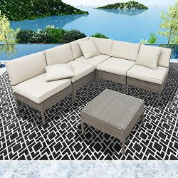 LOKATSE HOME 6 Pieces All-Weather Rattan Patio Sectional Sofa Set Wicker Outdoor Furniture with  ...