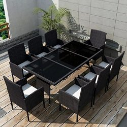 Tidyard 9 Piece Outdoor Dining Set with Cushions, 1 Table and 8 Chairs, 8 Cushions Set Poly Ratt ...