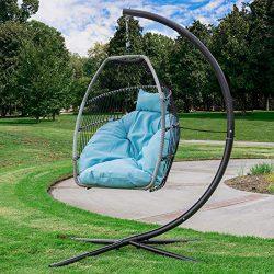 Barton Premium X-Large Patio Hanging Chair Swing Egg Chair UV Resistant Soft Deep Cushion Relaxi ...