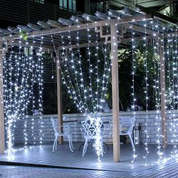 LE LED Curtain Lights, 9.8×9.8ft, 306 LED, 8 Modes, Plug in Twinkle lights, Cool White, Ind ...