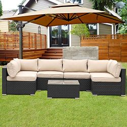 Patio PE Rattan Furniture Set 7 Piece Outdoor Garden PE Wicker Sectional Sofa Set Khaki Cushion