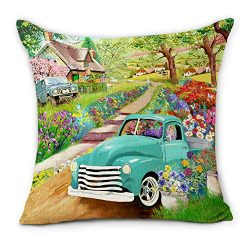 Hexagram Farmhouse Spring Pillow Covers 18×18 Inch Blue Truck with Fresh Spring Flowers Des ...