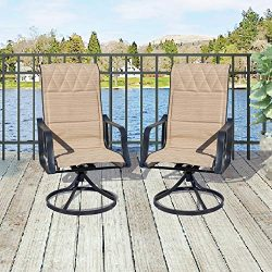 Top Space 2 Piece Patio Chairs Set 360 Degree Swivel Bar Stools Outdoor Furniture Sets with All  ...