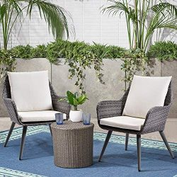Outdoor Wicker Dining Chair PE Rattan Accent Chair with Beige Cushion Patio Garden Furniture, 3  ...