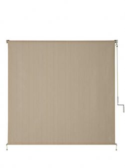 VICLLAX Outdoor Roller Shade, Patio Cordless  Blinds Roll Up Shade (8′ W X 8′ L),Wheat