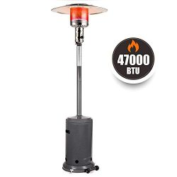 TACKLIFE Outdoor Propane Patio Heater with Wheel, 47000 BTU, Auto Shut Off Portable Heater with  ...