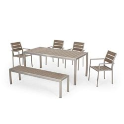 Great Deal Furniture Tess Outdoor Modern Aluminum 6 Seater Dining Set with Dining Bench, Natural ...