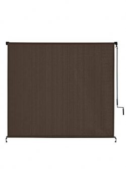 VICLLAX Outdoor Roller Shade, Patio Cordless  Blinds Roll Up Shade (6′ W X 6′ L) , Mocha