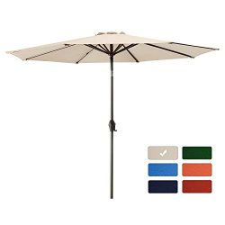 9′ Patio Umbrella Outdoor Table Market Umbrella with 8 Sturdy Ribs,Wing Vent,Push Button T ...