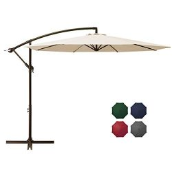 DOMICARE 10ft Offset Hanging Patio Umbrella with 8 Ribs, Outdoor Market Umbrella Easy Tilt Adjus ...
