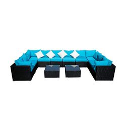 Outdoor Wicker Patio Furniture Sectional Cushioned Rattan Conversation Sofa Sets Black (Blue-12  ...