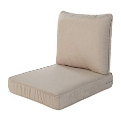 Quality Outdoor Living 29-BG04SB All-Weather Deep Seating Chair Cushion, 23 x 26 (Pack of 2), Beige