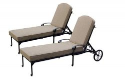Darlee Cast Aluminum Elisabeth Chaise Lounge(Extra Long) with Cushions (Set of 2), Antique Bronze
