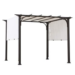 Sunjoy A106005500 Diego 8×8 ft. Steel Classic Pergola with Adjustable Shade, White