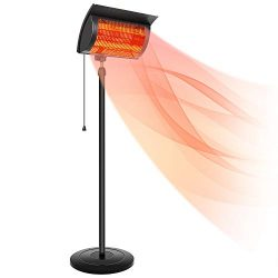Simple Deluxe Patio Outdoor Heater for Balcony, Courtyard with Overheat Protection, 750W/1500W,  ...