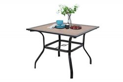 Sophia & William Outdoor Dining Table with Umbrella Hole 37″ x 37″ Metal Table f ...