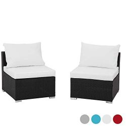 GREARDEN 2PCS PE Rattan Wicker Sofa Sets Patio Furniture Set Outdoor Sectional Coversation Sofa  ...