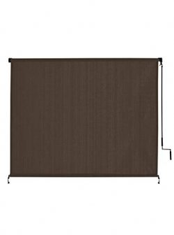 VICLLAX Outdoor Roller Shade, Patio Cordless  Blinds Roll Up Shade (8′ W X 6′ L) , Mocha