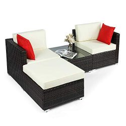 BAHOM Outdoor Patio Conversation Sofa Set 4 PC, All-Weather Wicker Chair and Ottoman Set for Pat ...
