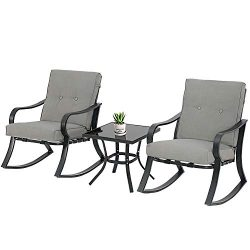SOLAURA 3-Piece Outdoor Rocking Chairs Bistro Set, Black Steel Patio Furniture with Gray Thicken ...