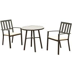 eclife Steel Patio Bistro Set Premium Outdoor Rust-Resistant 3 Piece Patio Set W/Table, Chairs,  ...