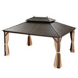 PURPLE LEAF 12′ X 16′ Outdoor Galvanized Steel Hardtop Double Roof Permanent Gazebo  ...