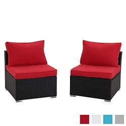 Tappio Outdoor Pe Wicker Black Rattan Patio Sofa Set, Rattan Conversation Furniture Sofa Set wit ...