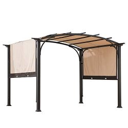 Sunjoy A106005400 Lindt 10 x 8 ft. Steel Arched Pergola with 2-Tone Adjustable Shade, Tan and Brown