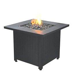 Endless Summer Liquefied Petroleum Outdoor Patio Fire Table with Glass, Black