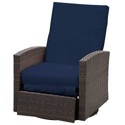 Outsunny Outdoor Rattan Wicker Swivel Recliner Lounge Chair with Water/UV Fighting Material and  ...