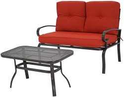 Oakmont Outdoor 2 Pcs Patio Loveseat Bench with Coffee Table Metal Furniture Set Sofa, Wrought I ...
