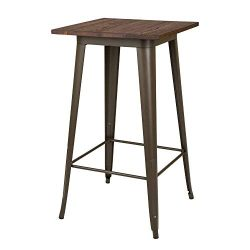 Glitzhome Modern Style Square High Heavy-Duty Metal Bar Table with Wooden Top Sturdy Frame Bistr ...