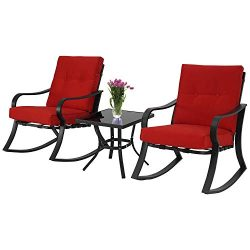 Patiomore 3-Piece Outdoor Patio Furniture Rocking Chairs Bistro Sets, Glass-Top Coffee Table and ...