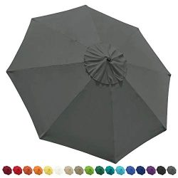EliteShade 9ft Patio Umbrella Market Table Outdoor Deck Umbrella Replacement Canopy (Grey)