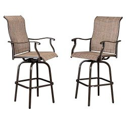 VINGLI 2PCS Outdoor Bar Stools Swivel Chairs Set, Upgraded Patio Bar Chairs, Swivel Patio Chairs ...