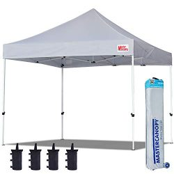 MASTERCANOPY Pop Up Canopy Tent Commercial Instant Canopies with Heavy Duty Roller Bag,Bonus 4 C ...